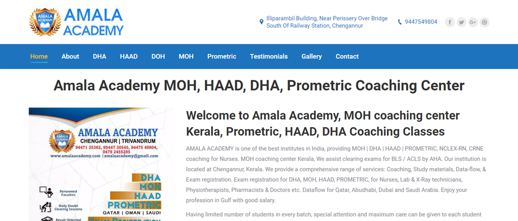 Amala Academy® MOH Coaching Center Kerala, HAAD,DHA, seo report